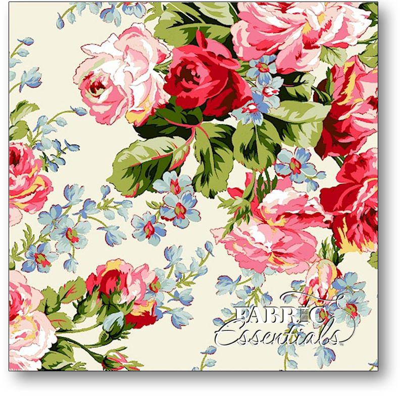 * Marcus - American Bouquet - R37-5204-0111 Large Roses Cream - BUY THE BOLT - FANTASTIC PRICE ON 17 YARDS!