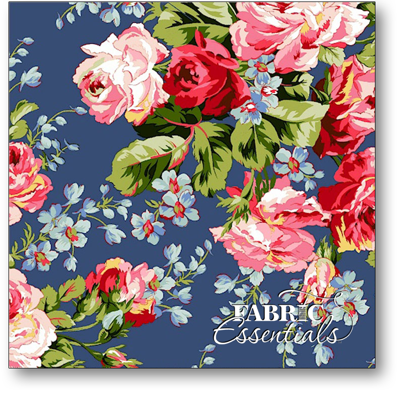 * Marcus - American Bouquet - R37-5204-0150 Large Roses Blue - BUY THE BOLT - FANTASTIC PRICE ON 15 YARDS!