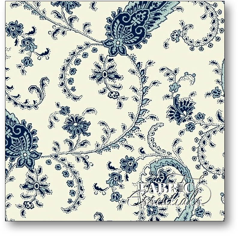 Marcus - American Bouquet - R37-5208-0199 Paisley Blue on Cream