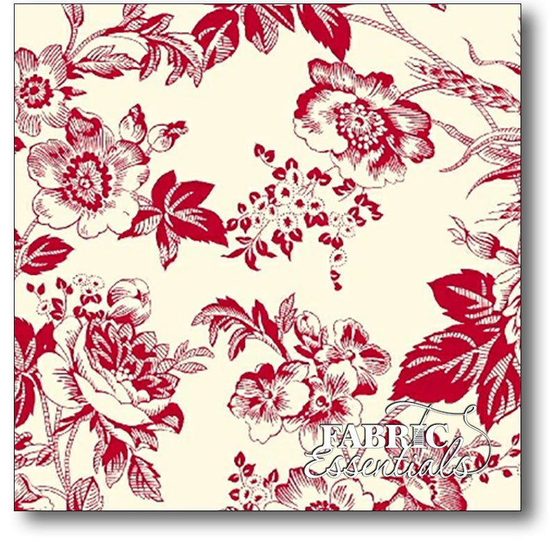 Marcus - Quilt Back - 108in Wide Backing - Faye Burgos R34-0280-0188 - Red Toile
