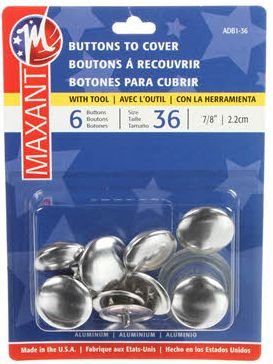 Maxant - Buttons to Cover - Size 36 - 7/8in - ADB1-36M (6 ct with tool)
