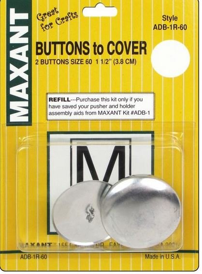 Maxant - Buttons to Cover - Size 60 - 1 1/2in - ADB1-60-R - REFILL (2 ct) Yellow Package
