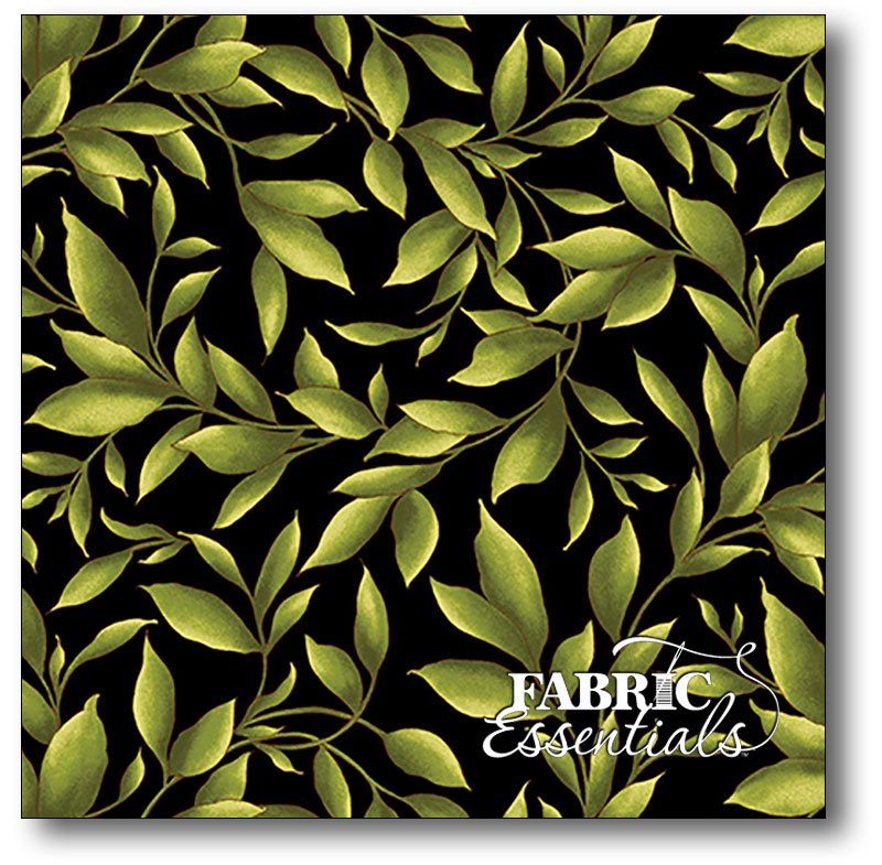 Maywood Studio - Catalina - Leaves - MAS8403-J Black - BUY THE BOLT - 1YD 6IN