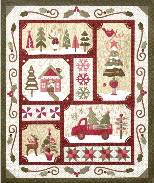 Sew Merry Quilt KIT - Dark/Burgundy Red Colorway!