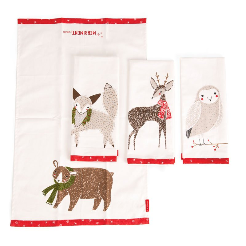 Moda Towels - Merriment Tea Towels - Set of 4 - 17in x 28in - 961-171
