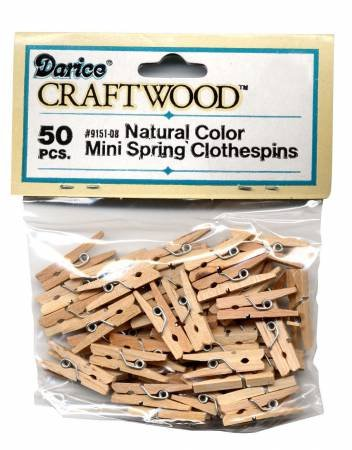 Darice - Mini Spring 1 inch Clothes Pins - Bag of 50 - 9151-08