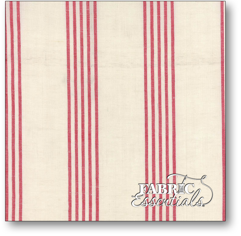 Moda Toweling - 920-229 - 16in Linen Closet - 45 Linen & 50 Cotton - Cream with Red