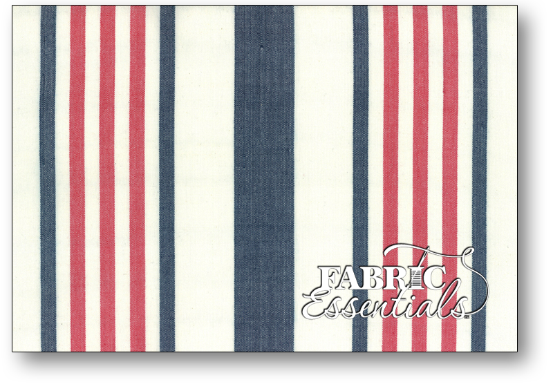 Moda Toweling - 992-238 - 16in Picnic Point Tea Toweling - White with Red and Blue Stripes