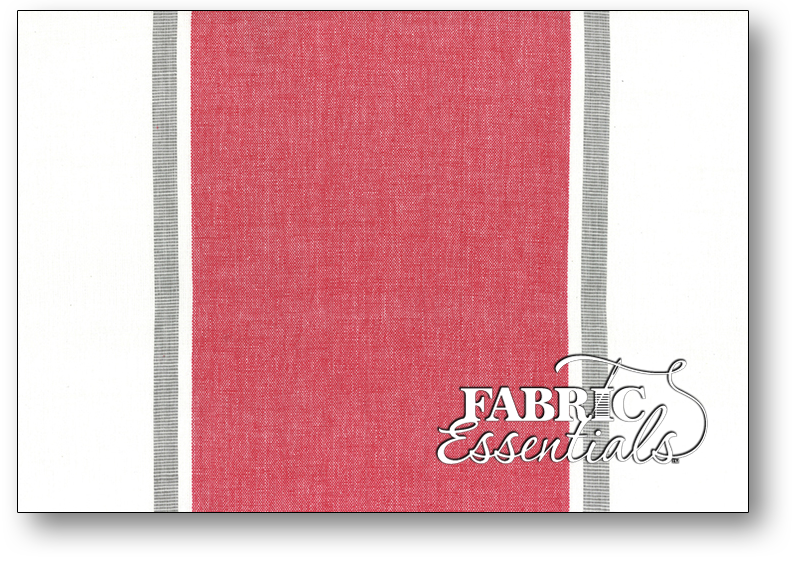Moda Toweling - 992-241 - 16in Picnic Point Tea Toweling - White with Large Red Stripe