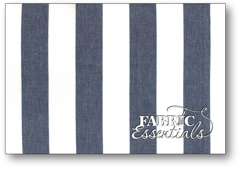 Moda Toweling - 992-242 - 16in Picnic Point Tea Toweling - Large White and Navy Stripes