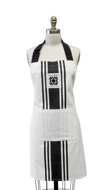Moda - Urban Chicks - Urban Cottage Apron - White with Black Stripes - 962-64