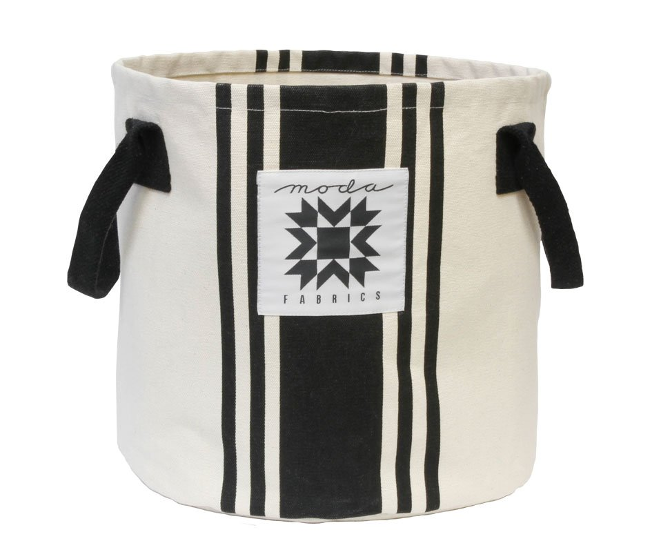 Moda - Urban Chicks - Urban Cottage Bucket Bag - Ivory with Black Stripes - 964-18