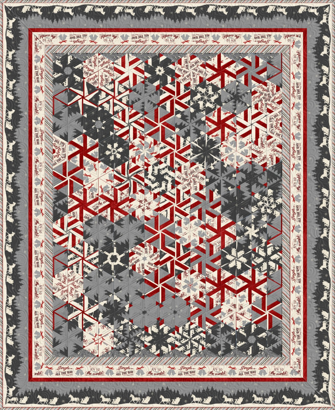 Holiday in the Woods - One-Block Wonder (OBW) Quilt Kit - 6 and 7 Panel Versions - SEE NOTES!