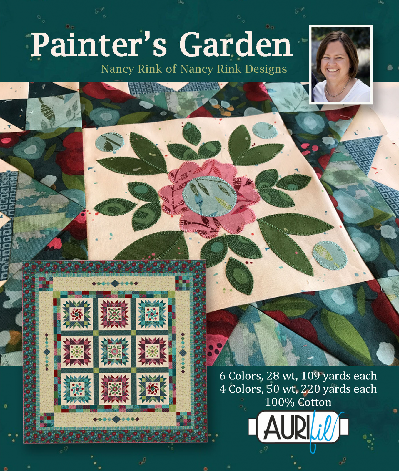 Aurifil - Painter's Garden Collection by Nancy Rink Cotton 50wt 28wt 10 Small Spools
