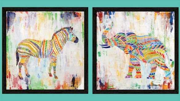 QT Fabrics - Artworks XIII - Rainbow Animal PANEL - Approx 23in x 44in 27313-X Multi