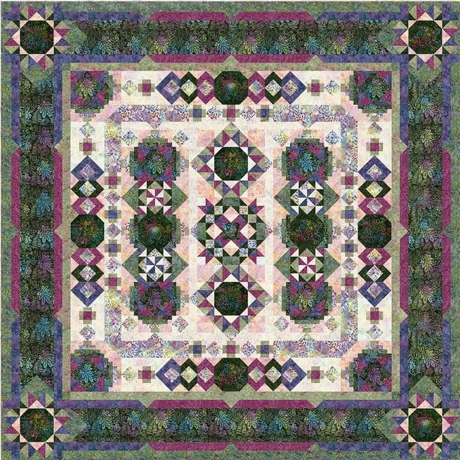 Tonga Blooming Fields Batik BOM Quilt - Includes Backing!