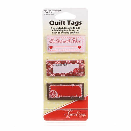 Quilt Tags - Set of 3 Quilt Labels - With Love - ER990