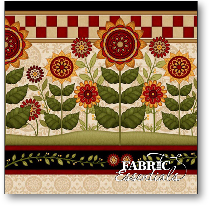 Quilting Treasures - Sunflower Garden - Sunflower Decorative Border Stripe - 4 Repeats - 23820-ER