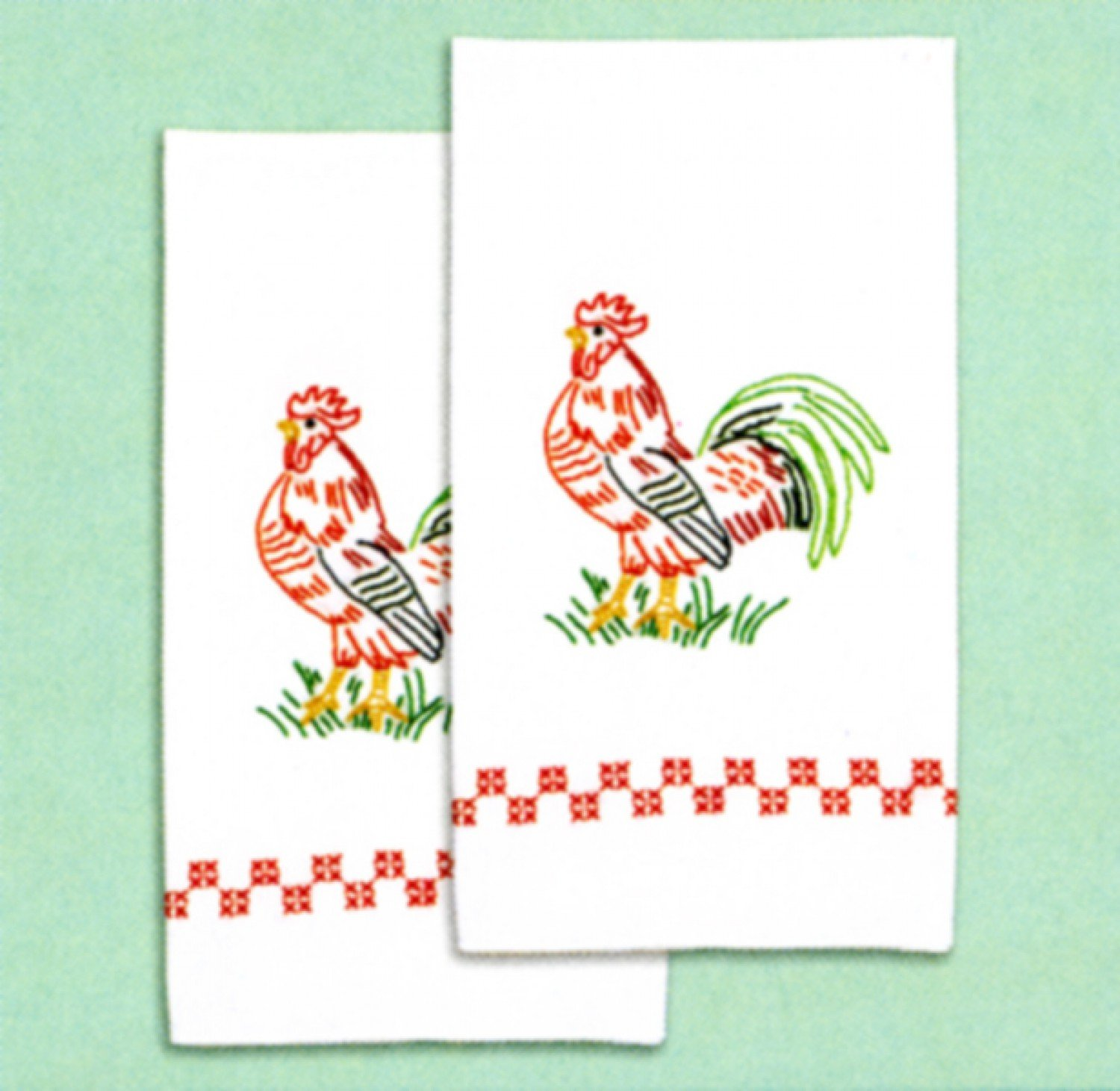 Jack Dempsey - 320-314 - Rooster Decorative Hand Towel Set of 2 - Cross Stitch & Embroidery