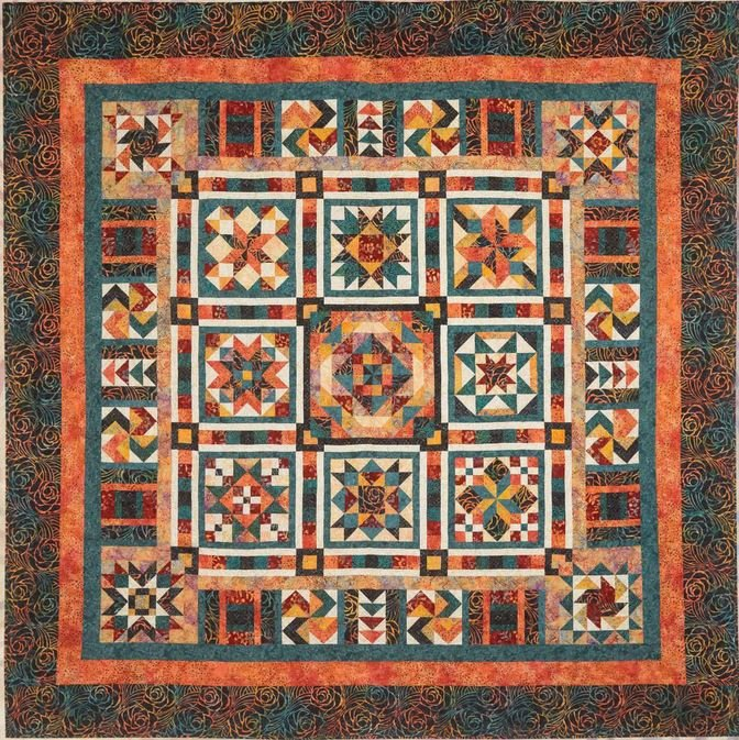 Sangria Batik BOM Quilt -  Available with ALTERNATE BORDER! ONE LEFT!