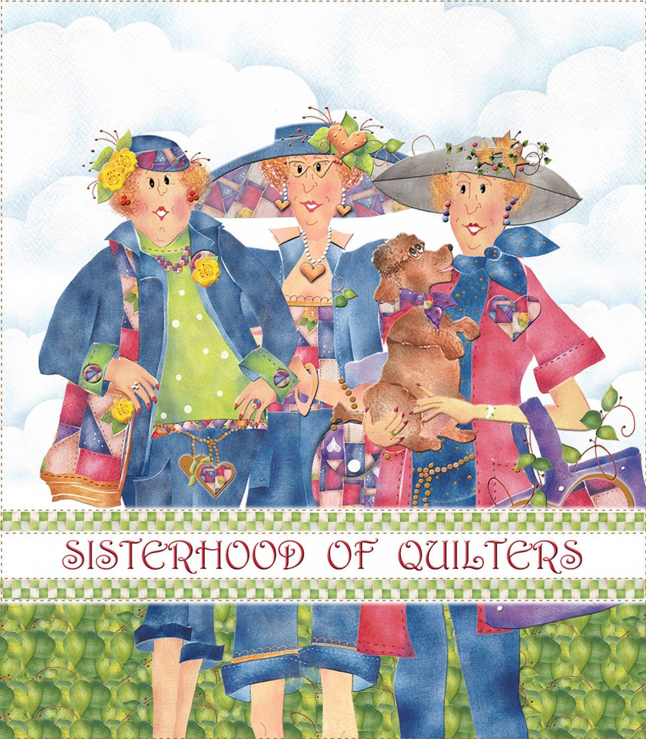 Jody Houghton - Fabric Art Panel - JH277151 - Sisterhood of Quilters Logo - 10in x 12in