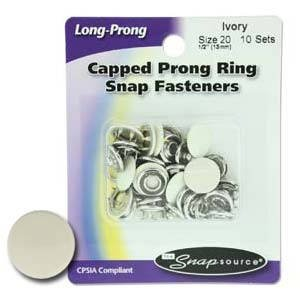Snap Source - Colorful Long-Prong Snaps - SS10 - Size 20 Ivory - 10 sets