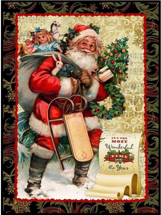 Christmas Victorian Santa PANEL Quilt KIT