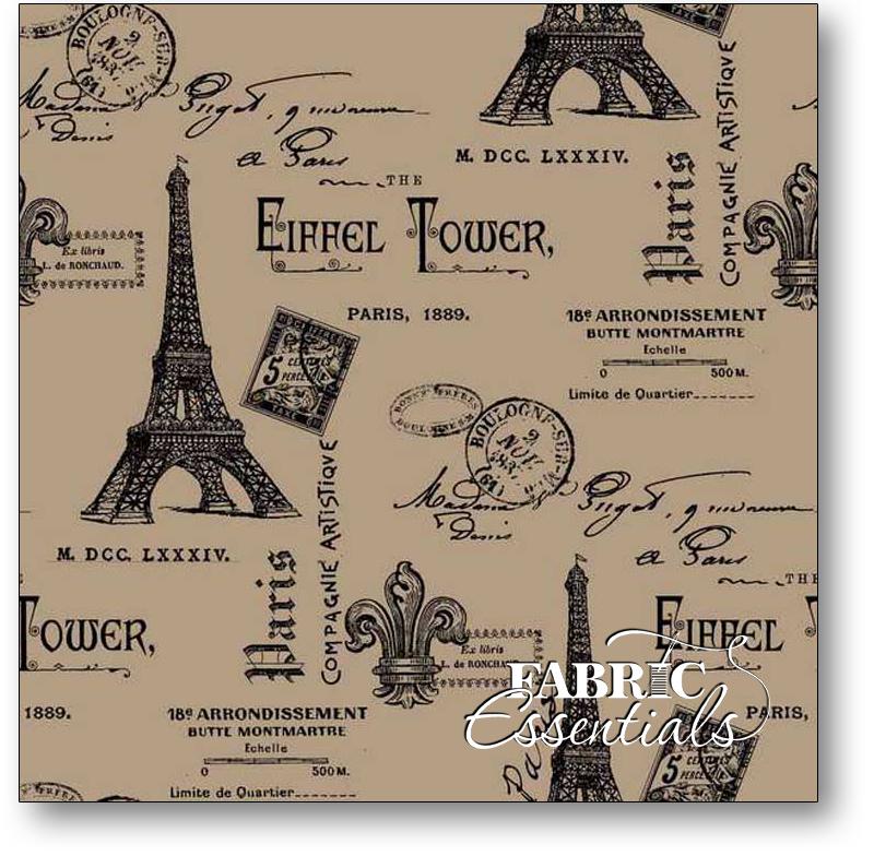 Springs - Printed Burlap - Paris Eiffel Tower- 47in - 45935-110038