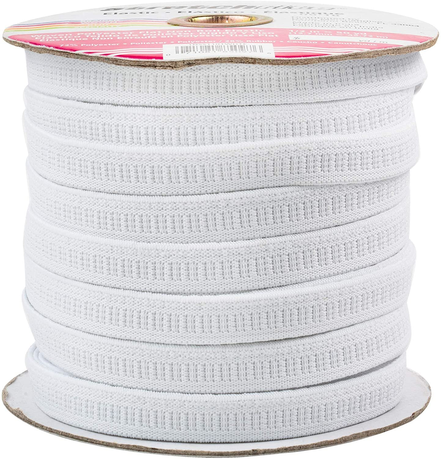 Stretchrite - Latex-Free - Woven Polyester Non-Roll Elastic - .5 inch - White - 1NSS1101White - SEE NOTE
