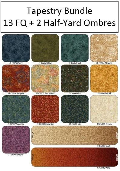 Tapestry - Bundle - 13 Fat Quarters & 2 Half-Yard Ombres