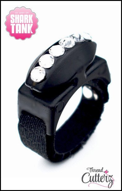 Thread Cutterz - Bedazzled Black Ring -  Black Top - 1 Row-Clear Swarovski Crystals