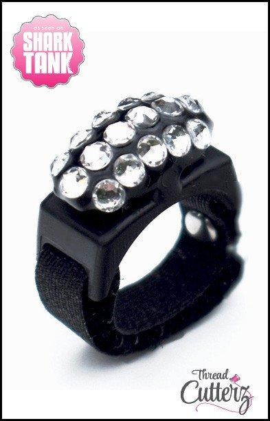 Thread Cutterz - Bedazzled Black Ring -  Black Top - 3 Rows-Clear Swarovski Crystals