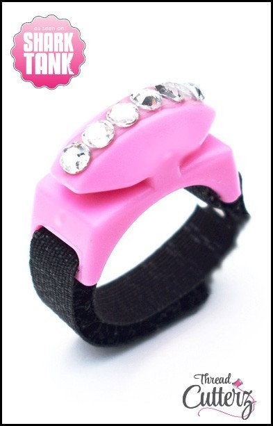 Thread Cutterz - Bedazzled Black Ring -  Pink Top - 1 Row-Clear Swarovski Crystals