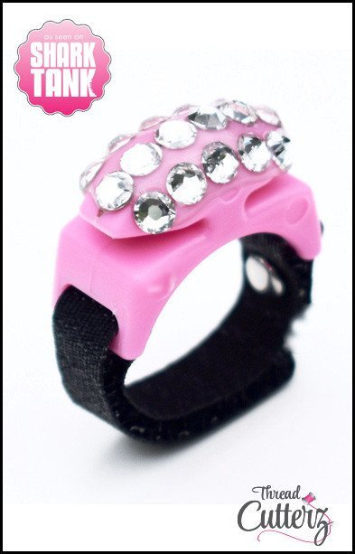 Thread Cutterz - Bedazzled Black Ring -  Pink Top - 3 Rows-Clear Swarovski Crystals