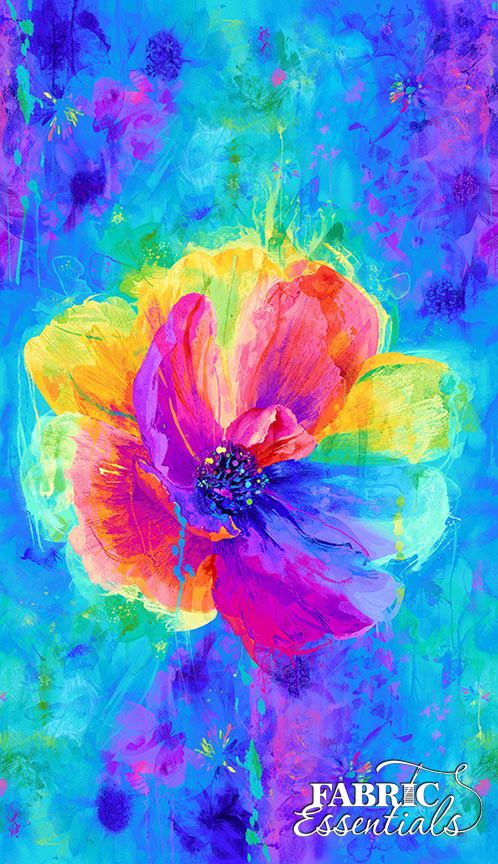Timeless Treasures - Chong-A Hwang - Spirit - Anemone Flower - PANEL - 23in x 44in - CD7134-MLT