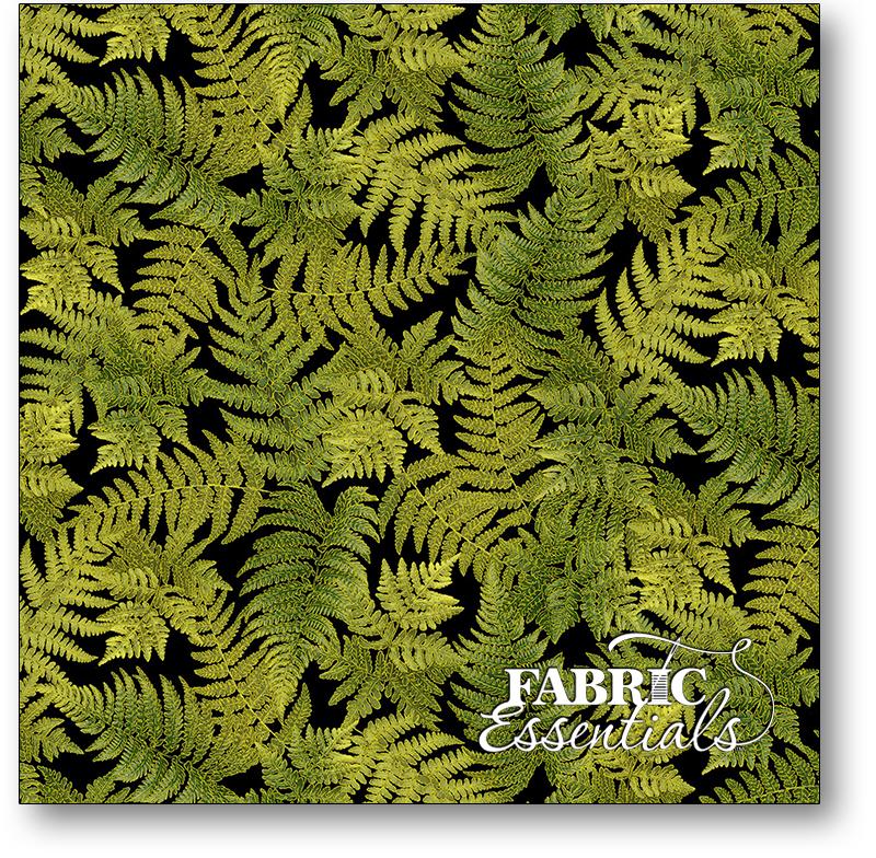 Timeless Treasures - Fall Glory - CM8525-BLACK - Tossed Metallic Fern Leaves