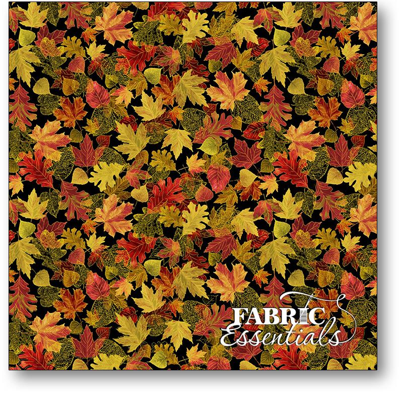 Timeless Treasures - Fall Glory - CM8547-BLACK - Tossed Small Metallic Fall Leaves