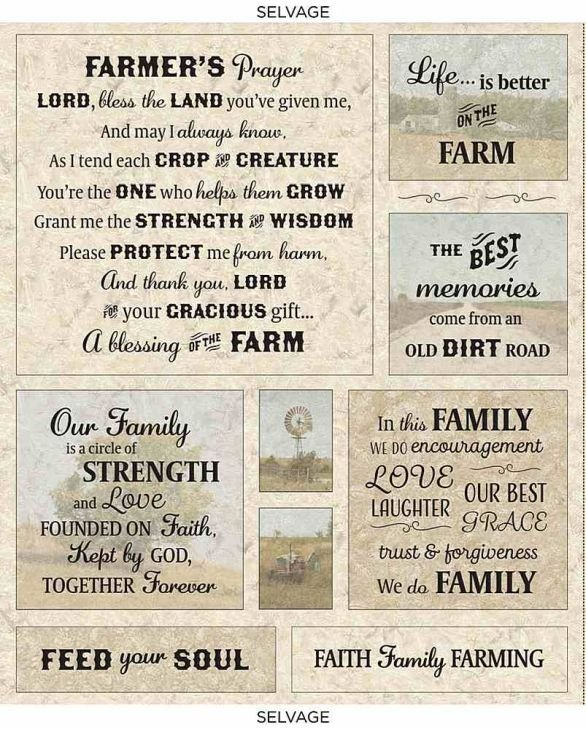 Timeless Treasures - Farmer's Prayer PANEL- approx 36in x 44in - JT-CD8738-CANYON - More Panels on Order ~ Kits Still Available!