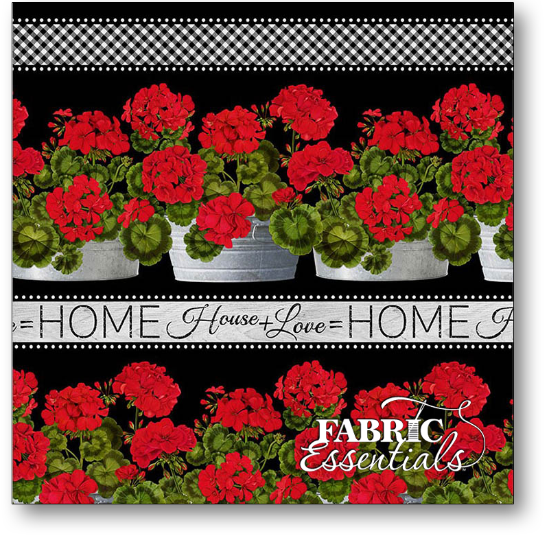 Timeless Treasures - Front Porch - Geranium Border Stripe - C6378-Black - BUY THE BOLT - 31IN