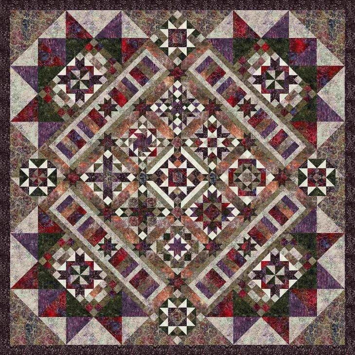 Tonga Plum Fusion Batik BOM Quilt - Includes Backing!