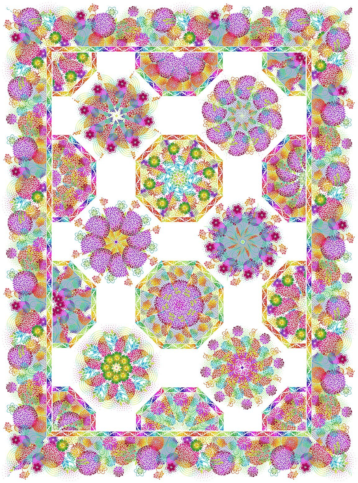 In The Beginning - Unusual Garden II - One-Fabric Kaleidoscope Quilt Kit - WHITE