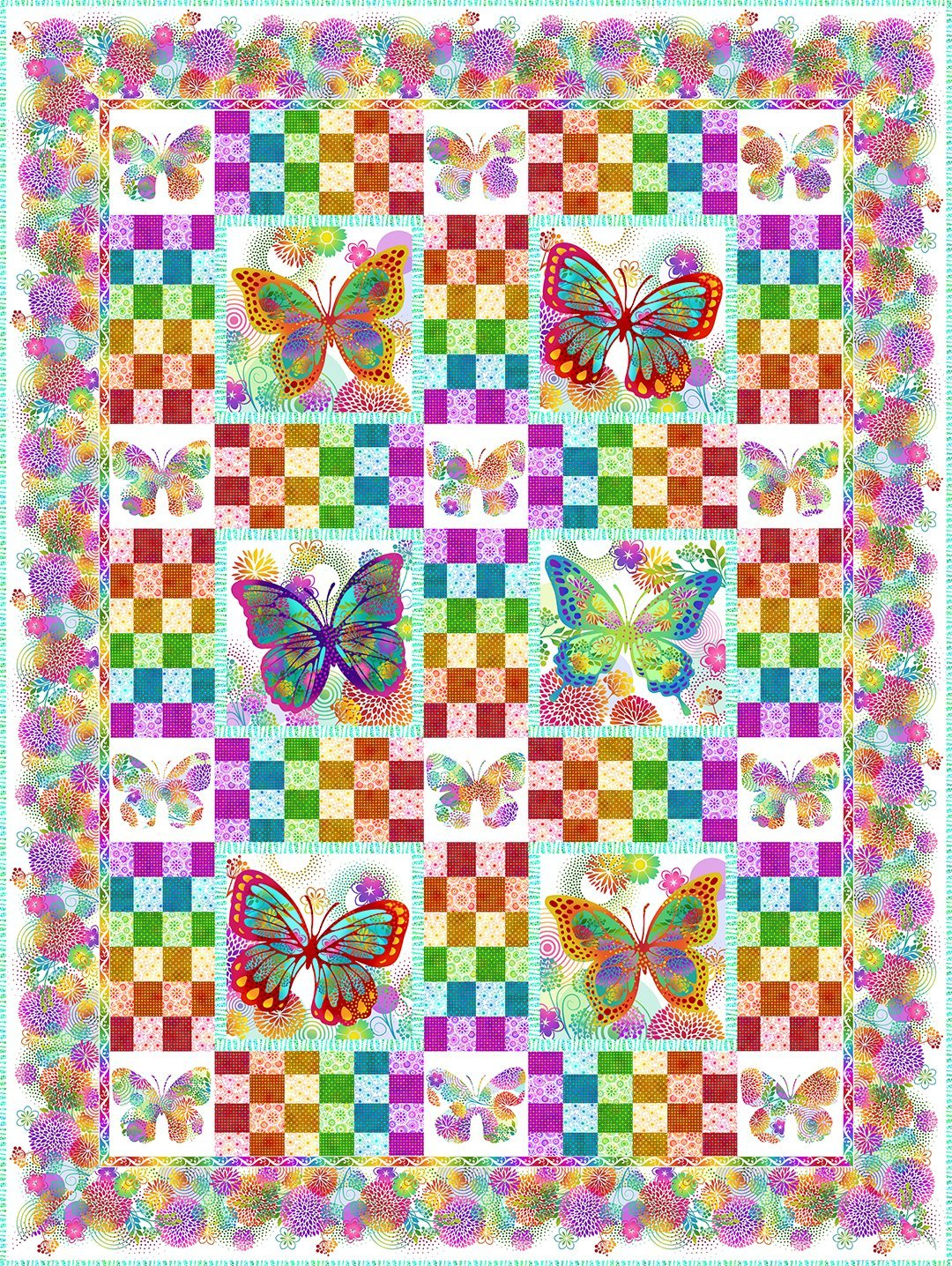 In The Beginning - Unusual Garden II - Butterfly Quilt Kit - WHITE
