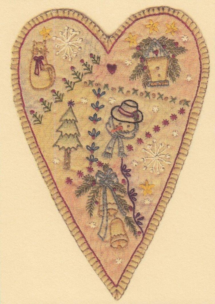 Vintage Christmas Ornament - CDHV10 - Prim Heart