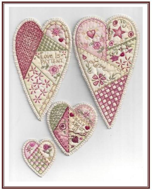 Vintage Valentines Ornaments KIT - Set of 4 (Includes Floss Kit & Backing!)