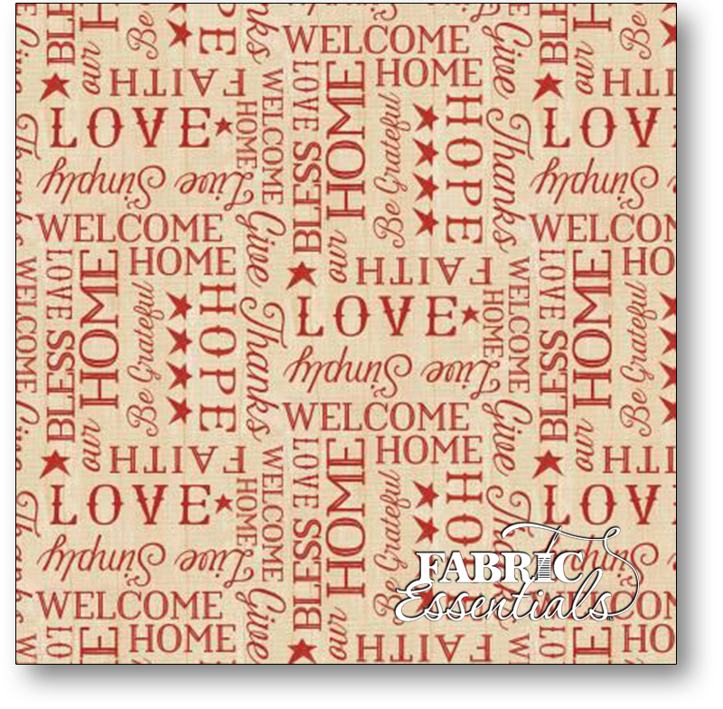 Wilmington Prints - The Way Home - 1828-82505-233 Red Words on Tan