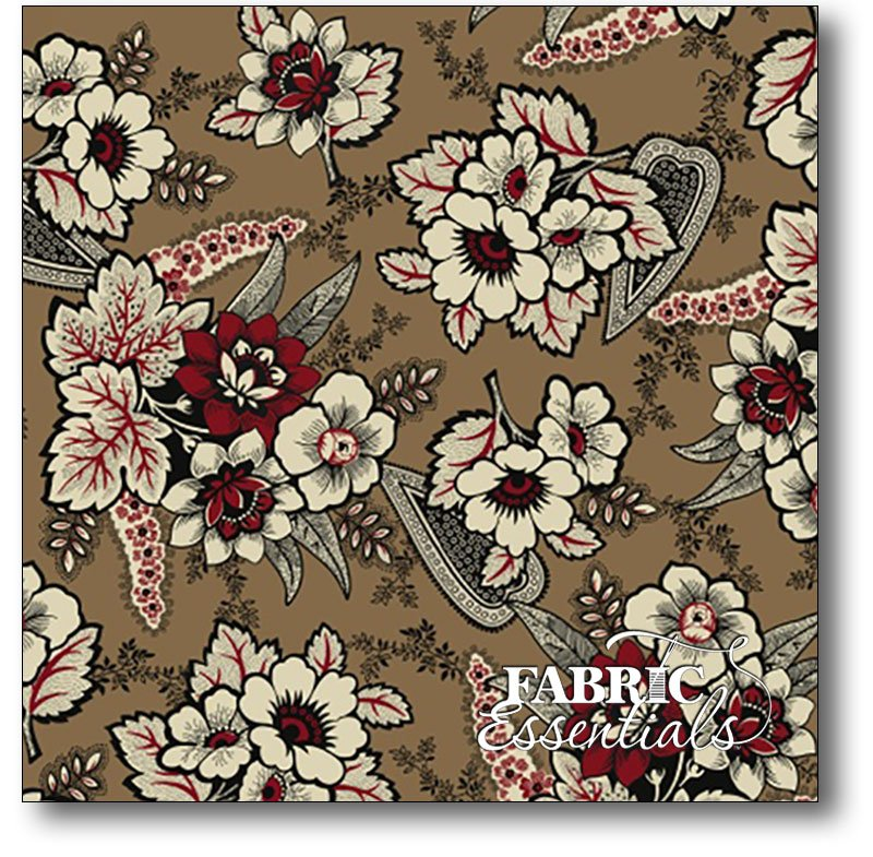Windham - Carmen - Floral Paisley - 41038-2 Tan - BOLT END - 1yd 33in