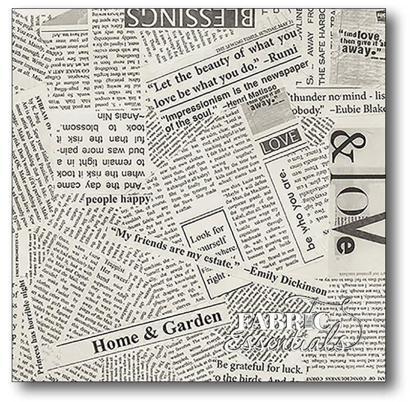 Windham - Spackle - News Paper Clipping - 108in WIDE Backing - Newsprint - 41946-4
