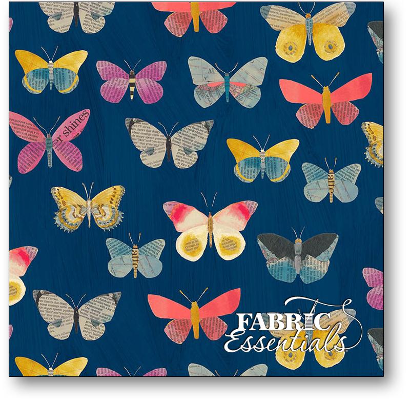 Windham - Wonder - 50515-2 - Newspaper Butterflies - Navy