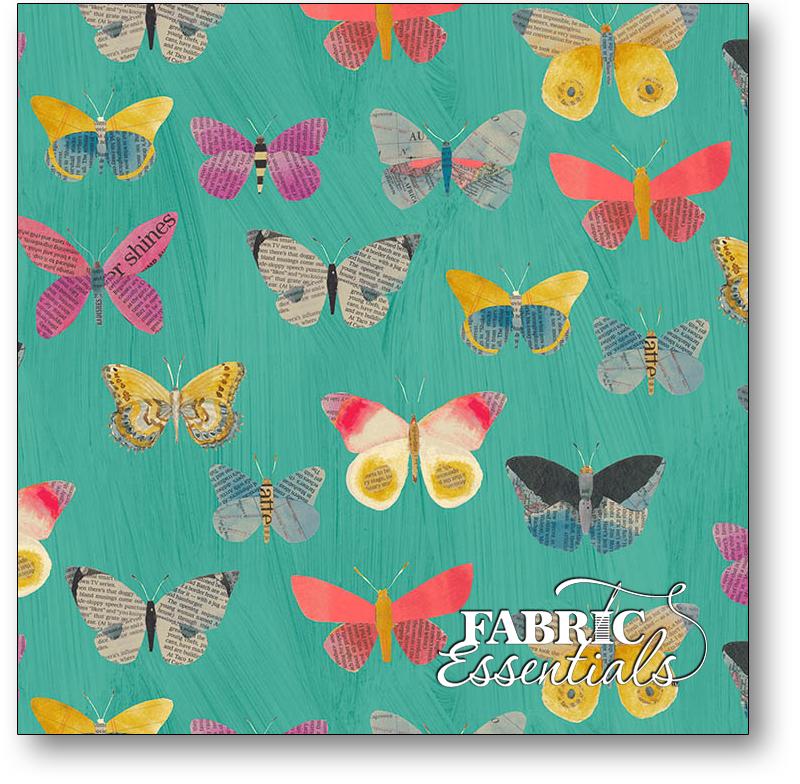 Windham - Wonder - 50515-3 - Newspaper Butterflies - Aqua