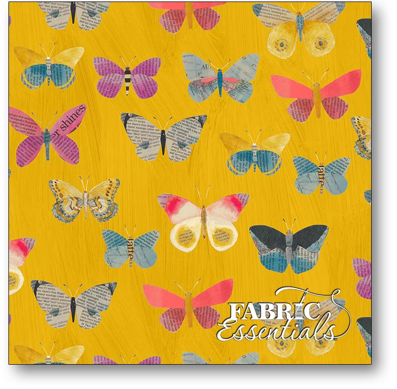 Windham - Wonder - 50515-4 - Newspaper Butterflies - Mustard